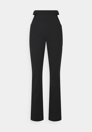 CUT OUT STRAIGHT LEG TROUSER - Bukse - black