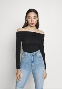 Vero Moda Petite - VMPANDA OFF SHOULDER TOP VIP  - Long sleeved top - black - 0