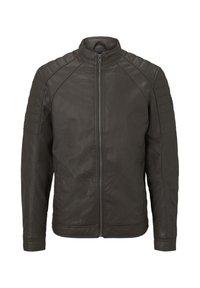 BIKER - Faux leather jacket - dark chocolate leather brown
