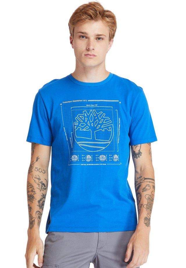 KENNEBEC RIVER PUFF EFFECT GRAPHIC - T-shirt z nadrukiem - nautical blue