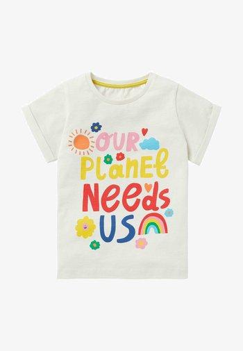 MIT MOTIV - Print T-shirt - naturweiß, our planet needs us