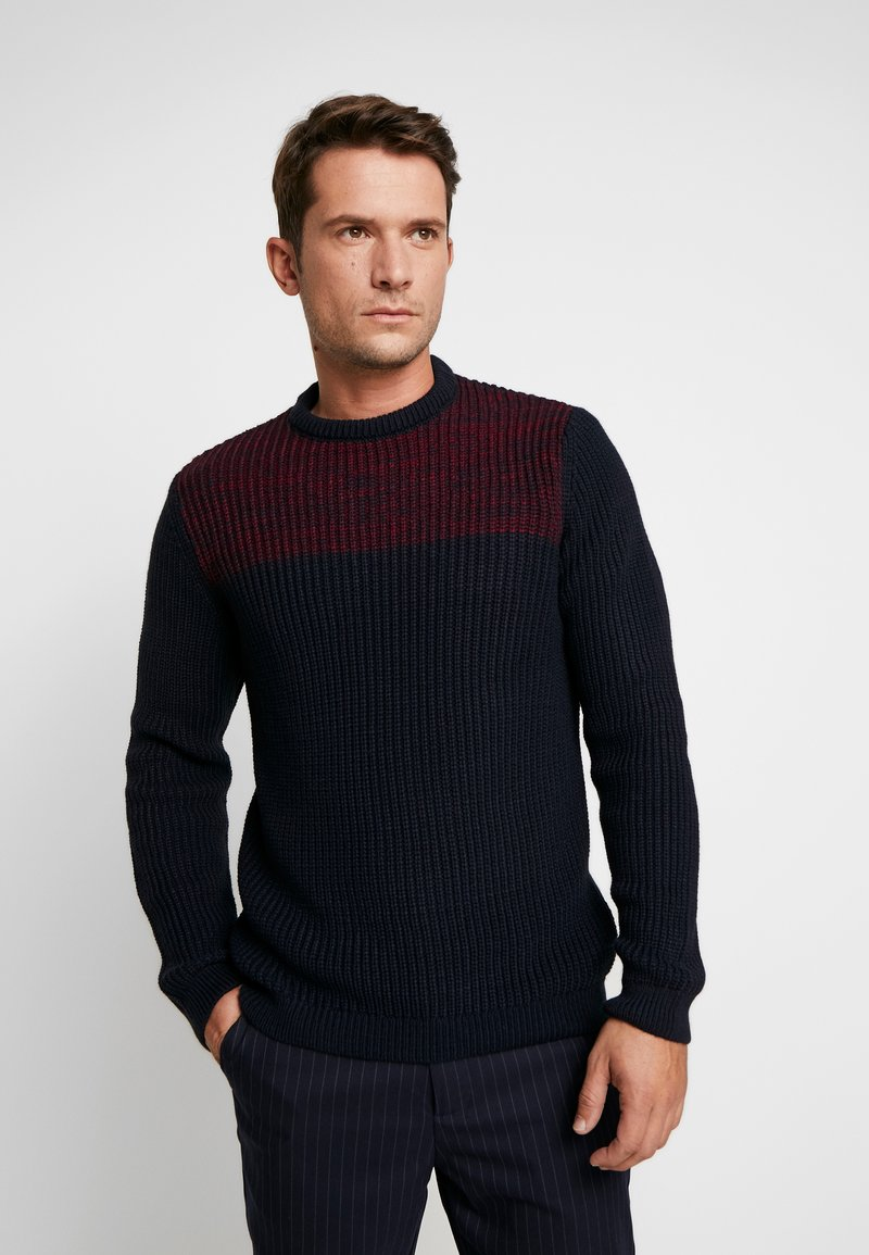 Pier One - Pullover - dark blue/bordeaux