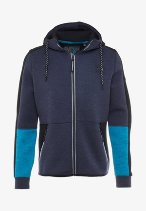 GYMTECH COLOURBLOCK ZIPHOOD - Sweatjacke - darkest navy/aqua marl