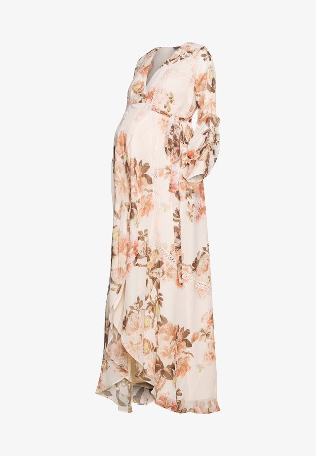 MAXI CROCHET TRIM WRAP DRESS - Vestido informal - blush