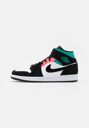 AIR 1 MID SE - Höga sneakers - white/hot punch/black/neptune green/barely volt
