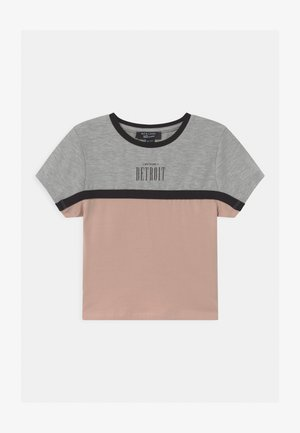 COLOUR BLOCK DETROIT LOGO - T-shirt print - light grey