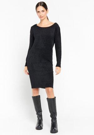 SWEATER - Shift dress - black