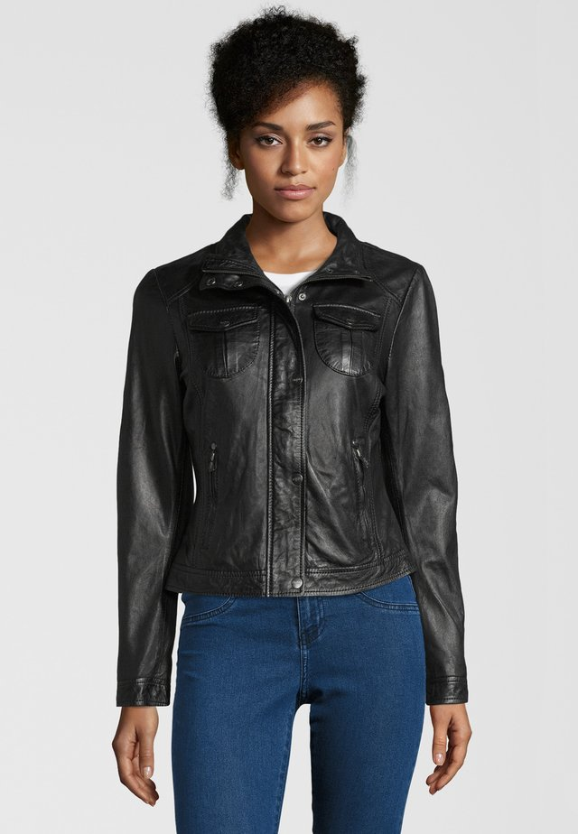 BE WONDERFUL - Leather jacket - black