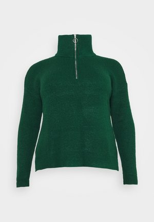 ZIP NECK JUMPER - Strikkegenser - deep emerald