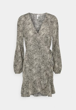 FRILL BOTTOM WRAP DRESS - Day dress - taupe