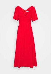 SHORT SLEEVE V-NECK MIDI - Maxi dress - tomato