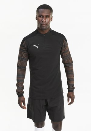 Long sleeved top - black-shocking orange