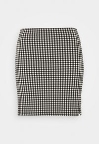 CHECKED BENGALINE MINI - Mini skirt - monochrome