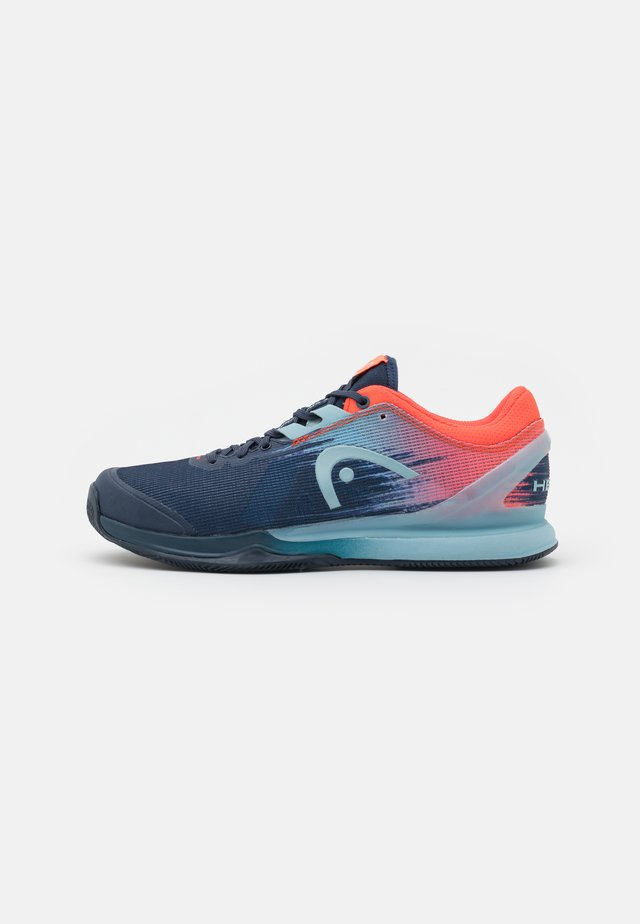 SPRINT PRO 3.0 CLAY - Tenisové boty na antuku - dress blue/neon red