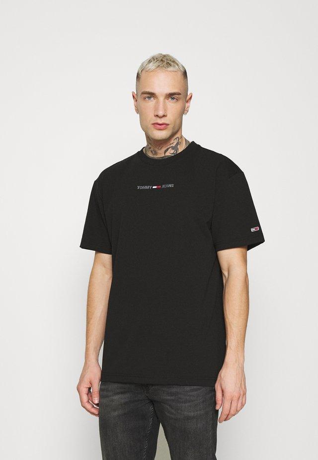 SHINE SMALL TEXT TEE UNISEX - Printtipaita - black