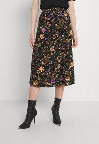 Pieces - PCFALISHI SKIRT - A-line skirt - black/flowers - 0