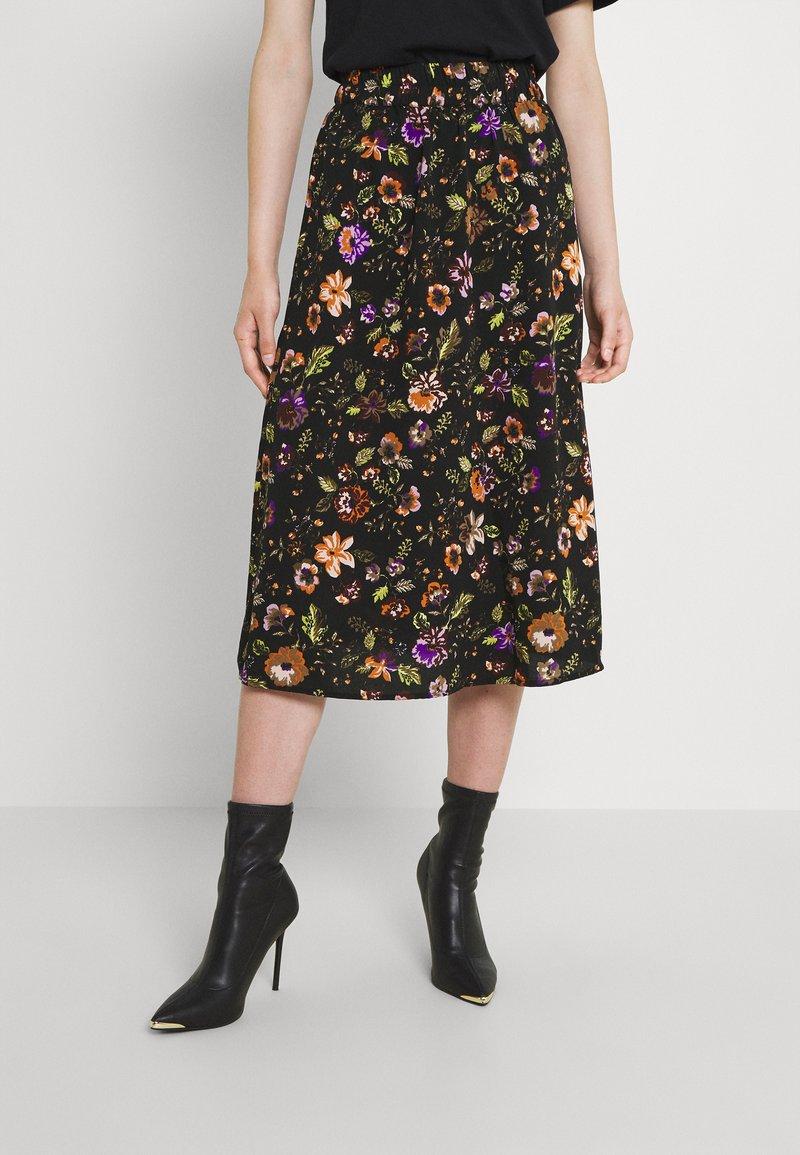 Pieces - PCFALISHI SKIRT - A-line skirt - black/flowers