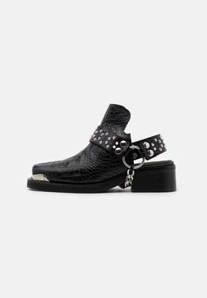 BOTTINES WESTERN CROCO - Ankle boots - black