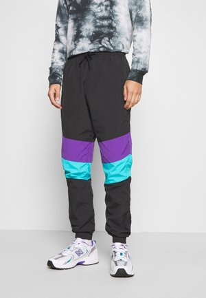 CRINKLE TRACK PANTS - Tracksuit bottoms - black/ultraviolet/aqua