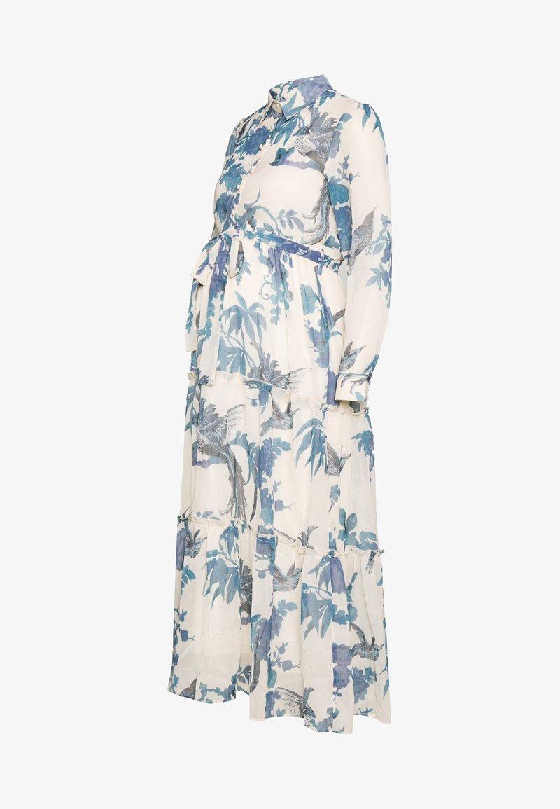 Hope & Ivy Maternity - MIDI TIERED DRESS WITH SLIP - Košilové šaty - cream
