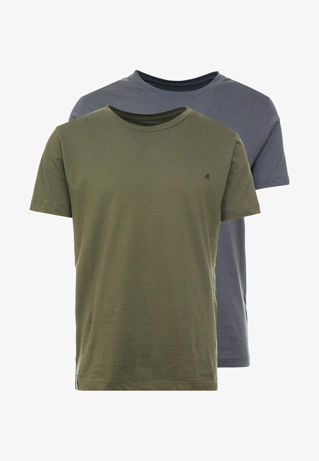 2 PACK - Basic T-shirt - military/cold grey