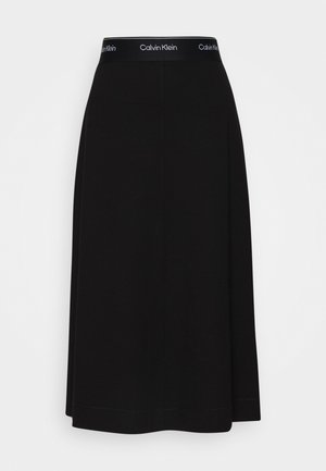MILANO PULL ON MIDI SKIRT - Jupe trapèze - black