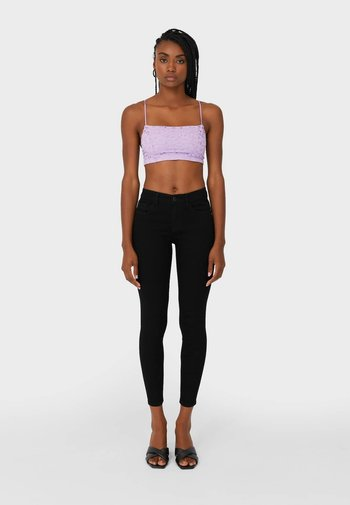 MIT TIEFEM BUND  - Jeans Skinny Fit - black denim
