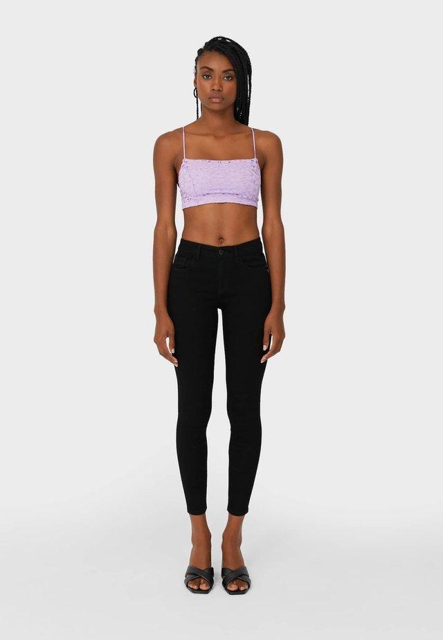 MIT TIEFEM BUND  - Skinny džíny - black denim