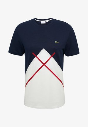 Print T-shirt - white/navy blue/burgunder