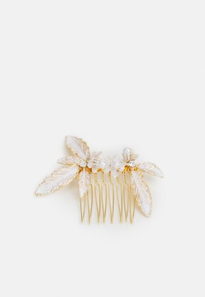 ONLJENNA FLOWER HAIRCLIP - Hair Styling Accessory - gold-coloured/white