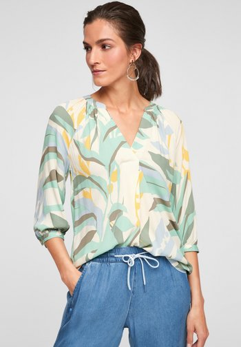 Blouse - turquoise aop