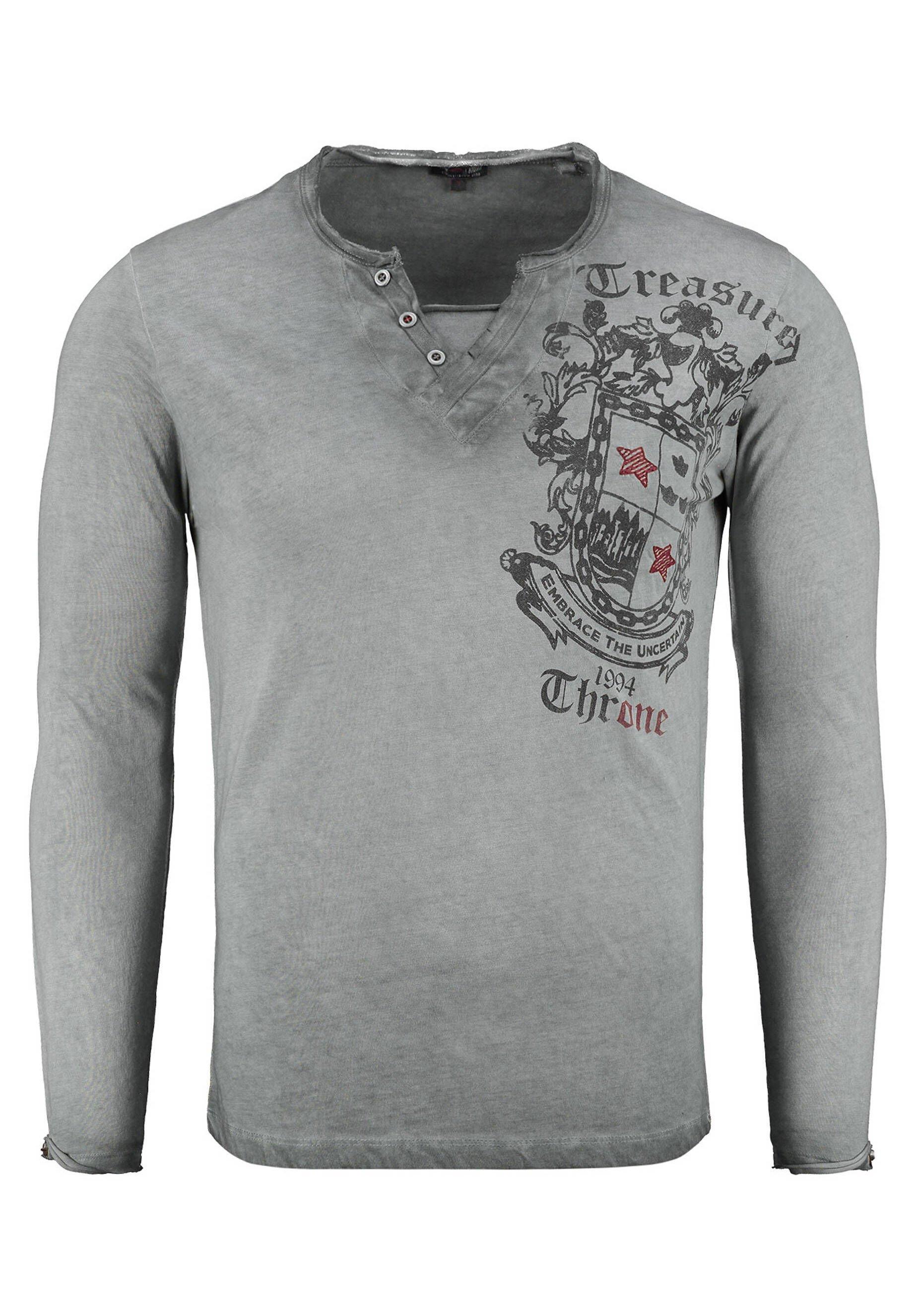 Men HIGHLAND BUTTON - Long sleeved top - anthrazit