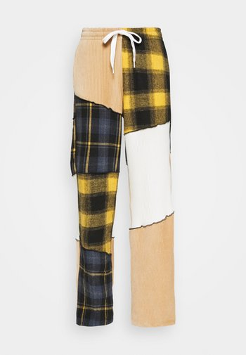 PANELLED WIDE LEG JOGGER MIX CHECK & FABRIC TEXTURES