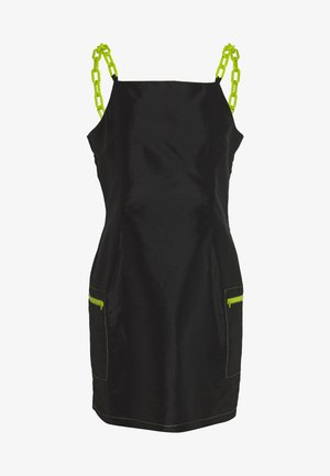 DRESS CONTRAST CHAIN AND TRIMS - Vestido informal - black
