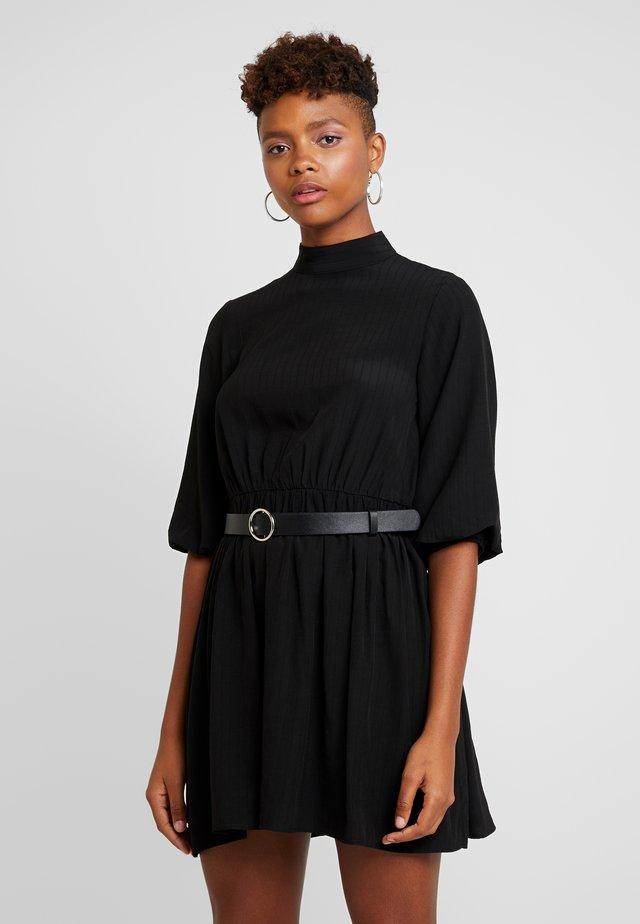 BELTED MINI DRESS WITH BELL SLEEVE - Sukienka letnia - black