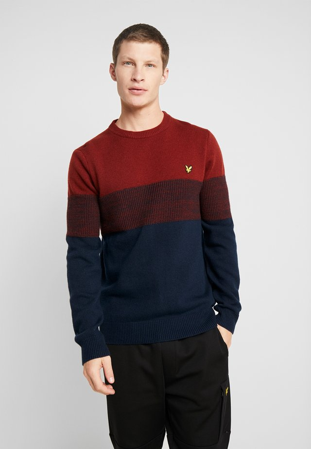 CHEST PANEL JUMPER - Neule - dark navy/brick red