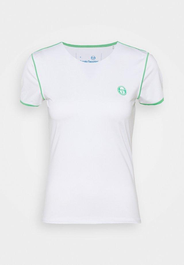 WOMAN - Triko spotiskem - blanc de blanc/island green
