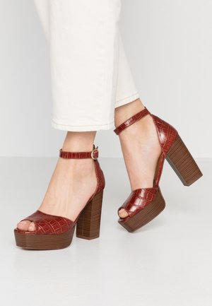 DISAMA - High heeled sandals - brandy