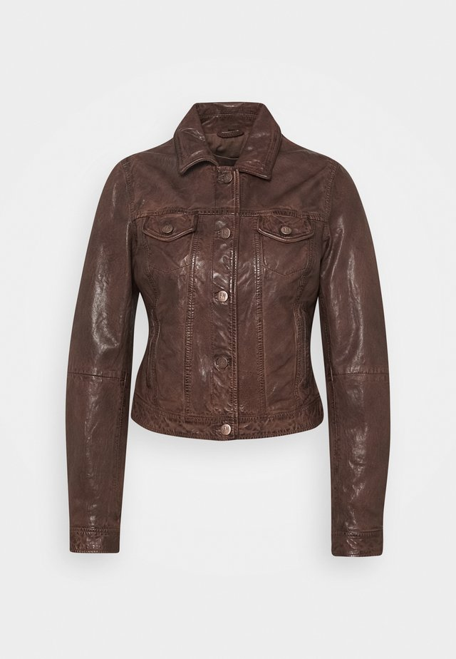 JUST FANCY - Leather jacket - tabacco
