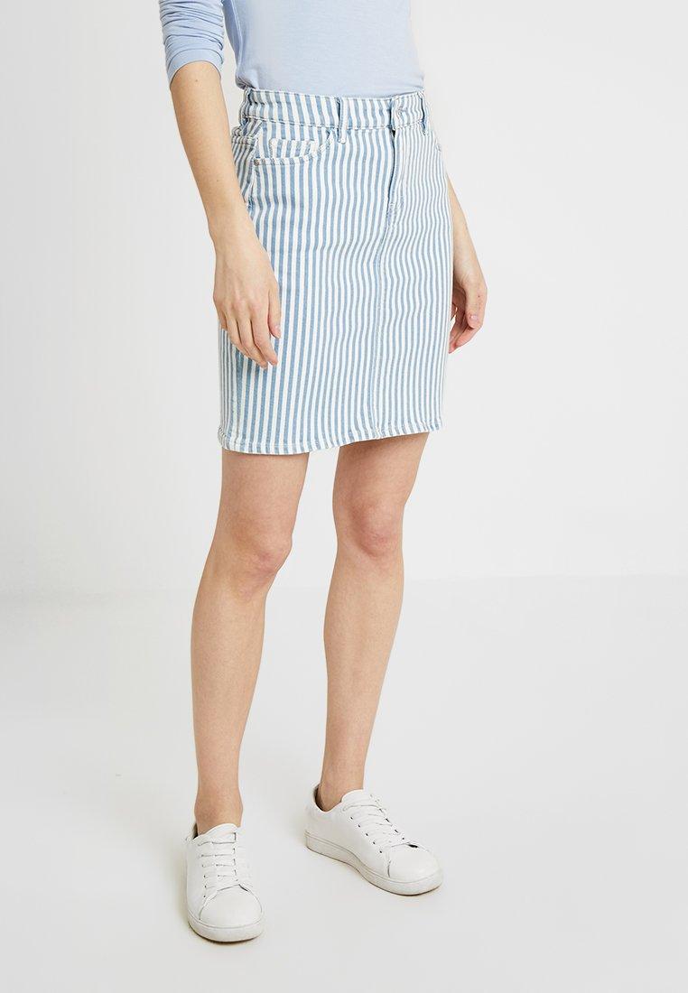 edc by Esprit - STRIPE  - Pencil skirt - blue light wash