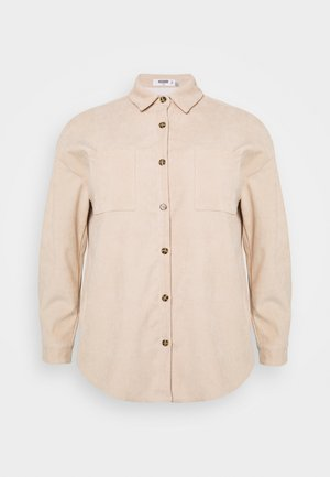 PLUS MINI BUTTON RAW HEM - Button-down blouse - cream
