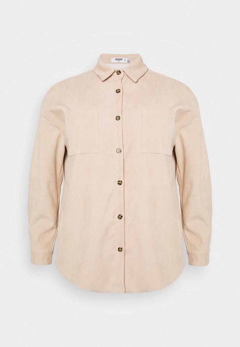 Missguided Plus - PLUS MINI BUTTON RAW HEM - Button-down blouse - cream