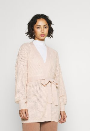 RECYCLED WAFFLE STITCH BELTED BALLOON SLEEVE  - Cardigan - rose
