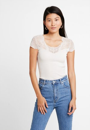 SILK-MIX T-SHIRT REGULAR W/LACE - Print T-shirt - soft powder