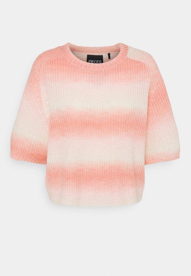 PCGOYA ONECK KNIT - T-shirt print - deep sea coral/birch