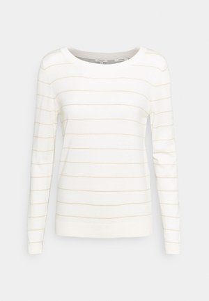 JUMPER STRIPED ROUND NECK - Svetr - white/sand