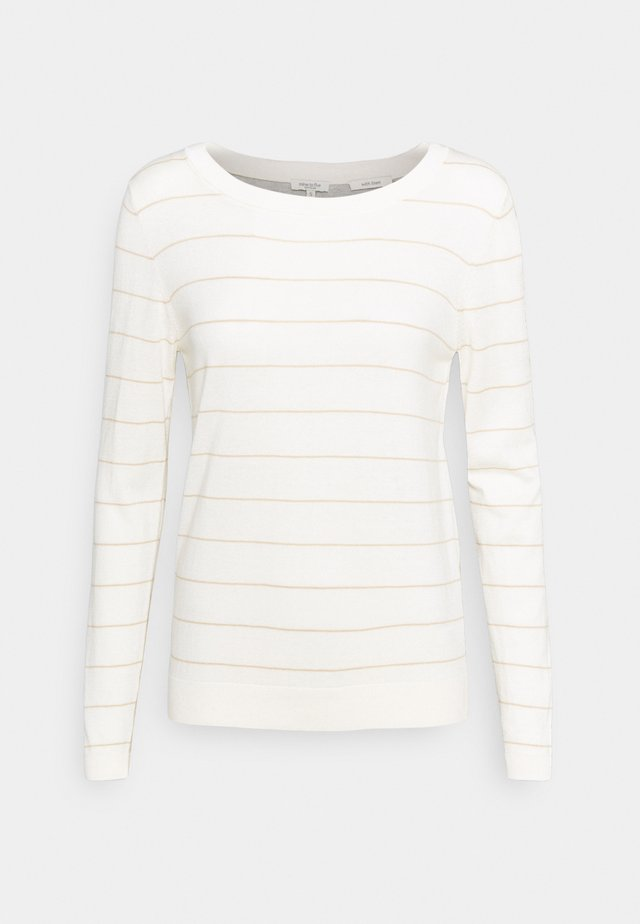 JUMPER STRIPED ROUND NECK - Maglione - white/sand