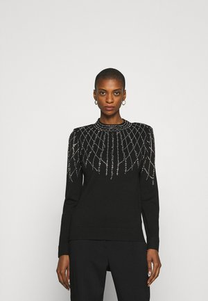 LINEAR SPARKLE JUMPER - Strickpullover - black