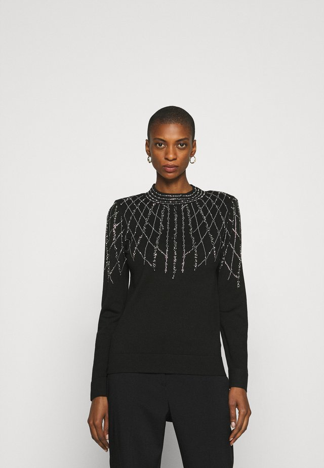 LINEAR SPARKLE JUMPER - Strikkegenser - black