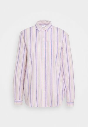 Button-down blouse - blue/pink